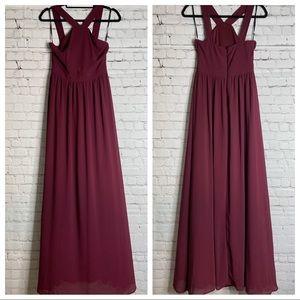 Lulu's Maxi Formal Dress Sleeveless Wine Color